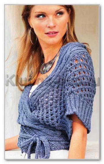 вязание спицами для женщин летние модели однотонный жакет с