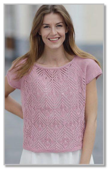 вязание спицами для женщин пуловер на кокетке с ажурами и